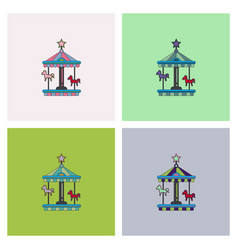 stock cartoon childrens fun colorful carousel vector image