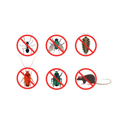 Stop insects and pests signs cartoon set vector