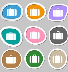 suitcase icon symbols Multicolored paper stickers vector image