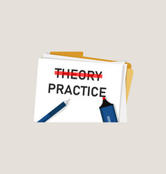Theory practice concept word in paper with red vector