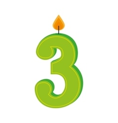 Three numbre candle birth isolated vector