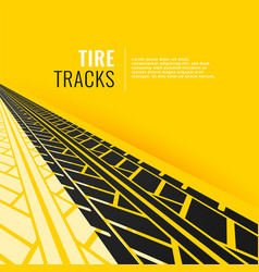 Tire tracks in perspective om yellow background vector