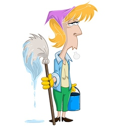 Tired Woman With Mop And Bucket vector image