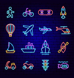 transport neon icons vector image