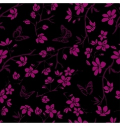 Twig cherry blossoms and butterfles seamless vector