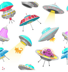 ufo seamless pattern alien spaceships vector image