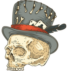 voodoo skull in old hat vector image