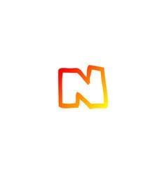 Warm gradient line drawing cartoon letter n vector