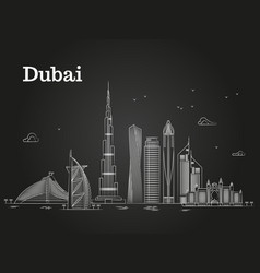 White linear dubai panorama with skylines and vector