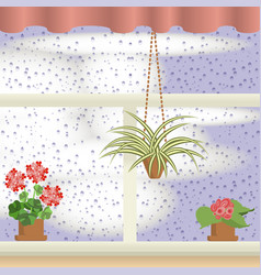 Window with raindrops vector