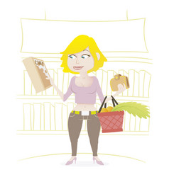 Woman shopping in a supermarket vector