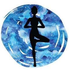 Women silhouette tree yoga pose vrikshasana vector