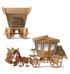 Wooden coach pulled horses two perspectives vector