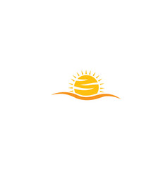 yellow big bright and shiny sun sunrise for logo vector image