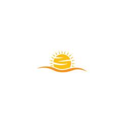 Yellow big bright and shiny sun sunrise for logo vector