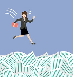 Business woman jump into a lot of documents vector image vector image