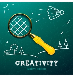 Creativity learning Racket made with magnifying vector image vector image