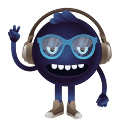 funny monster with headphones and glasses vector image vector image