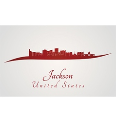Jackson skyline in red vector image