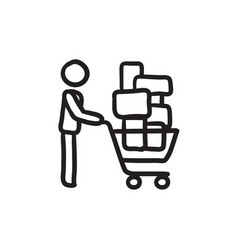 Man pushing shopping cart sketch icon vector