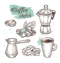 outline coffee elements isolated on background vector image vector image