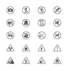 warning sign flat icons vector image vector image