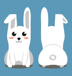 white sitting rabbit colorful poster vector image vector image