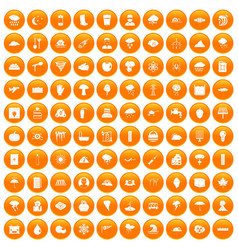 100 thunderstorm icons set orange vector