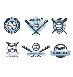 Baseball Emblems or Badges with Various Designs vector image vector image