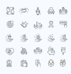 Charity - modern line design icons and vector