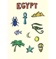 Colored egypt icons set vector
