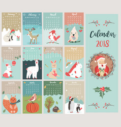 holiday calendar with cute and funny characters vector image vector image