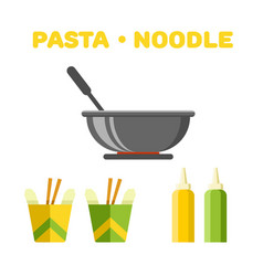 pasta and noodle set colorful constructor vector image vector image