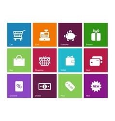 Shopping icons on color background vector image vector image