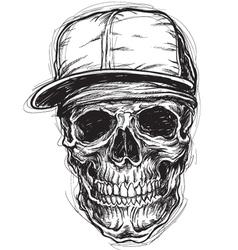 Sketchy Skull with Cap and Bandanna vector image