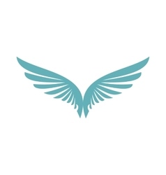 Two blue wing icon flat style vector image vector image