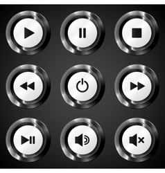 Black metallic power buttons set vector image