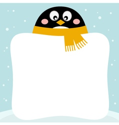 Cute penguin with winter blank banner vector image vector image