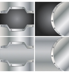 Four metal backgrounds vector image vector image