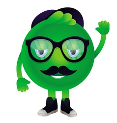 funny monster with mustache and glasses vector image