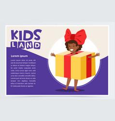 happy girl dressed as gift box cute kid in vector image vector image