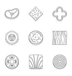 kitchen sliced vegetables icon set outline style vector image