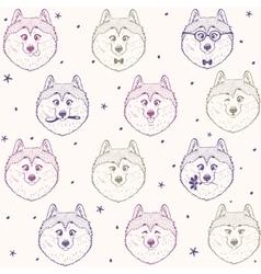 seamless pattern husky vector image vector image