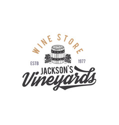 wine shop logo label organic winesvineyard vector image