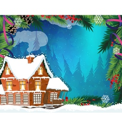 Christmas House in winter forest vector image