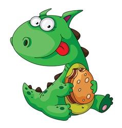 dinosaur eating vector image vector image