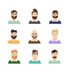 Man Avatars Hypsters with Various Hair Style and vector image vector image