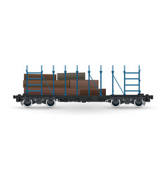 train with timber on white background vector image vector image