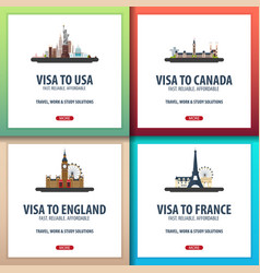 Visa to usa canada england france document for vector
