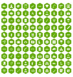 100 antiterrorism icons hexagon green vector image